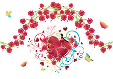 Heart with Roses Stock Photo