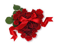 Heart of roses with ribbon Stock Images