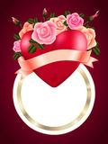 Heart with roses, ribbon and banner Stock Images