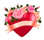 Heart with roses and ribbon Royalty Free Stock Photography