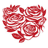 Heart of roses sketch vector illustration holiday card Valentine s Day Stock Photography