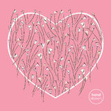 Heart and roses stylized vector background. Abstract flowers hand drawn love illustration. Valentines day card design. Stock Image