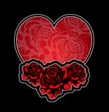Heart and roses tatoo. Design template Stock Images