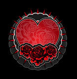 Heart and roses tatoo. Template Royalty Free Stock Images