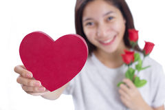 Heart And Roses On Valentines Day Stock Photos
