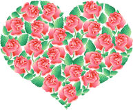 Heart with roses (vector) Royalty Free Stock Images