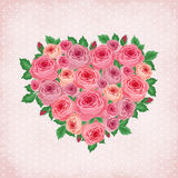 Heart of roses on vintage background Stock Photos