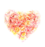 Heart of roses on white background Royalty Free Stock Photos