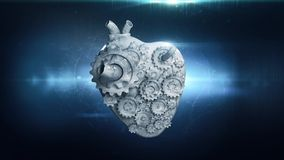 Heart with rotating metal gears stock video footage