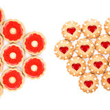 Heart and round shaped strawberry biscuits. Royalty Free Stock Image