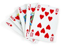 Heart royal flush Stock Photos