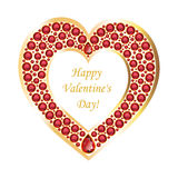 Heart of rubies in a gold frame vector card. Heart of rubies in a gold frame. Romantic card with Valentine's Day. Vector, isolated object Stock Image