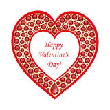 Heart of rubies vector card. Heart of rubies. Christmas card with Valentine's Day. Vector, isolated object Royalty Free Stock Photo