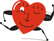 Heart run. A strong and healthy hear engages in fitness, runs, smiles and winks Stock Photo