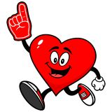 Heart Running with Foam Finger Stock Images