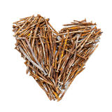 Heart of rusty nails Royalty Free Stock Photography