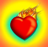 Heart's afire2. 3-d heart in flames stock illustration