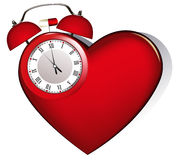 Heart's alarm. Illustration of heart and alarm clock with pill Royalty Free Stock Photography