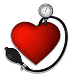 Heart's pressure. Conceptual illustration of heart's shape and manometer Royalty Free Stock Photos