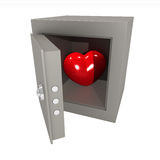 Heart in the safe. Three-dimensional model. A figure of heart in the metal safe Stock Images