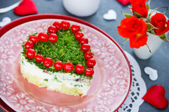 Heart salad on Valentine`s Day Royalty Free Stock Image