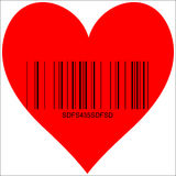 Heart for sale. Heart image with Barcode, symbol of love for sale Stock Photos