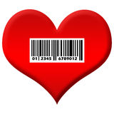 Heart For Sale. A red heart shape image with barcode sticker on it royalty free illustration