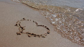 Heart in Sand. Sand Beach Stock Photos