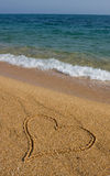 Heart in the sand. Stock Images