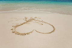 Heart in sand. Beach with  big heart drawn in sand Stock Photography