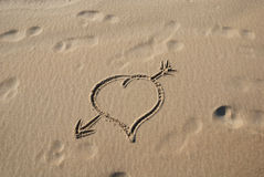 Heart on sand 2 Stock Photo
