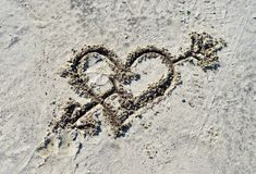 Heart on sand Royalty Free Stock Photography
