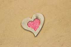 Heart in the sand. Handmade heart in the sand with copy space Royalty Free Stock Photography