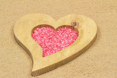 Heart in the sand. Handmade heart in the sand with copy space Royalty Free Stock Image