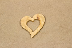 Heart in the sand. Handmade heart in the sand with copy space Royalty Free Stock Photos