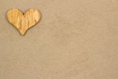 Heart in the sand. Handmade heart in the sand with copy space Royalty Free Stock Photo