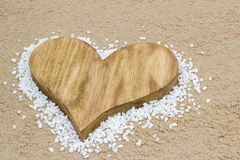 Heart in the sand. Handmade heart in the sand with copy space Stock Photos