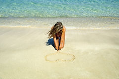 A heart on the sand Royalty Free Stock Photos