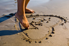 Heart in the sand Stock Photos