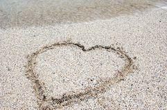Heart in the Sand on the Beach royalty free stock photos