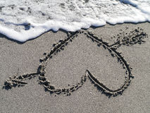 Heart in Sand Beach Stock Photos