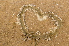 Heart in Sand Royalty Free Stock Photography
