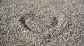 Heart from sand Royalty Free Stock Photography