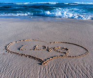 Heart in the sand on the beach. Bali, Indonesia Royalty Free Stock Photo