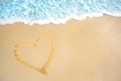 A heart in the sand on the beach.heart drawn on sand.  royalty free stock photography