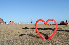 Heart on the Sand Beach. Photo Picture of an Heart on the Sand Beach Royalty Free Stock Image