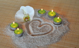 Heart sand candle orchid Royalty Free Stock Image