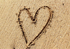 Heart on sand Royalty Free Stock Photos