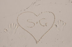 A heart on the sand Stock Photography