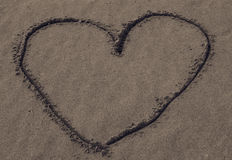 Heart Drawn In Sand Royalty Free Stock Photos